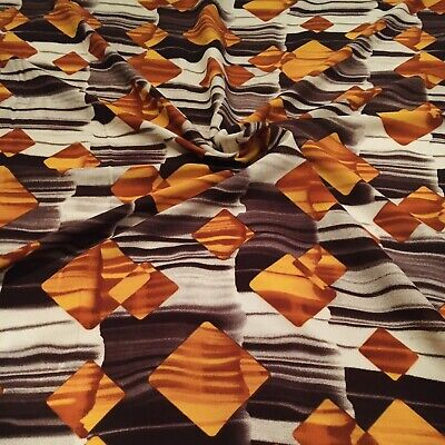 """Cream Viscose Fabric With Shaded Of Brown & Yellow Printed Design 58"""" Wide • 4.99£"""