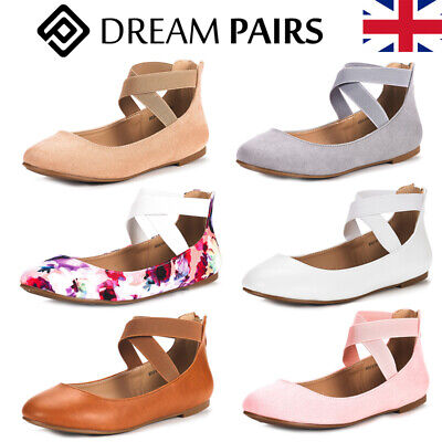 DREAM PAIRS Womens Ballet Ballerina Flat Pumps Ladies Glitter  Ankle Strap Shoes • 12.99£