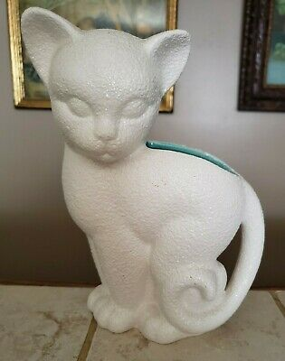 $15.99 • Buy Vintage Royal Haeger 507 Textured White Cat Kitten Teal Interior Planter Vase
