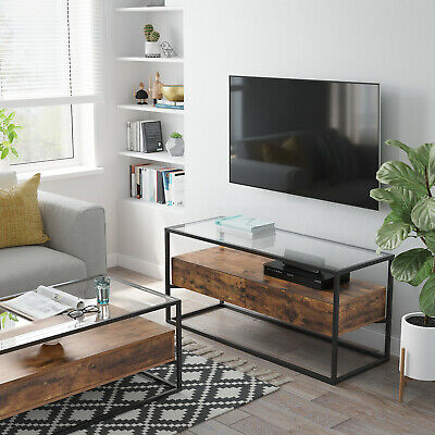 TV Cabinet, TV Console With 2 Drawers, TV Stand,Tempered Glass Top,Sideboard • 93.99£