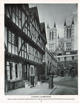 £3.29 • Buy Lincoln Cathedral Vintage Picture Old Print 1950 CLPBOB2#48