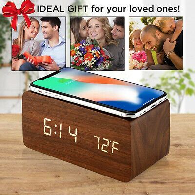 Perfect Gift 2020 Wooden LED Digital Alarm Clock With USB /AAA, Speaker- UK • 13.99£