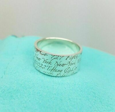 Tiffany & Co Fifth Avenue Notes Wide Silver Band Ring Size K 1/2 Or 5.5 US • 247.99£