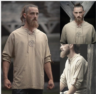 Medieval Men's Vintage Linen Ancient Viking Retro Cosplay Costume T-shirt Tee UK • 11.50£