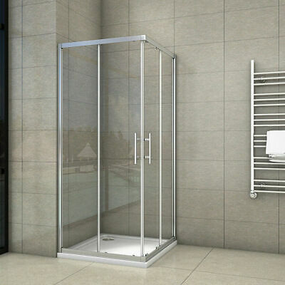 £105.44 • Buy Corner Entry Shower Enclosure And Shower Tray Walk In Cubicle Sliding Glass Door