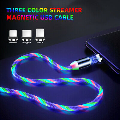 LED Flowing Light Up Magnetic Charger Charging Cable For Type C Micro USB IOS UK • 4.69£