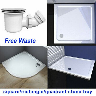 Quadrant / Square / Rectangle Stone Tray Shower Enclosure Glass Door Free Waste • 74.94£