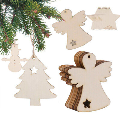 10 Wooden Christmas Craft Shapes Angel Wings Bauble Xmas Tree Star Hanging Decor • 2.67£