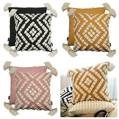 £12.95 • Buy Belize Luxury Woven Cotton Tassel Tufted Scatter Cushion Home Decor Cover/Filled
