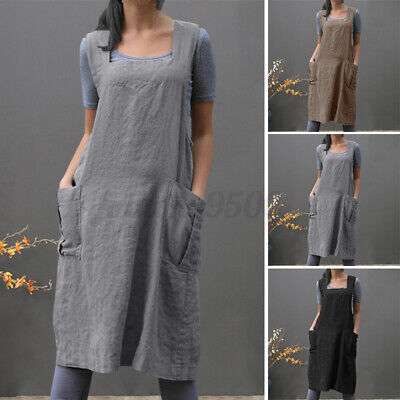 AU17.99 • Buy AU STOCK Women Bib Dungarees Pinafores Dress Back Cross Ladies Cook Chef Aprons