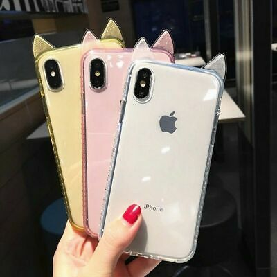 £8.44 • Buy Silicon Shockproof Back Cover Cute Cat Ear Bling Glitter Diamond Case For IPhone