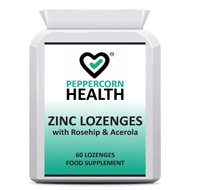 Zinc Lozenges, Ease Your Sore Throat, With Rosehip & Acerola, Peppercorn Health • 6.49£