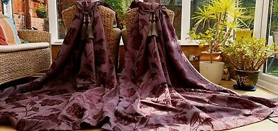 Huge Pair Of Next Chenille Brocade  Lined Curtains 90  Drop By 66  Width Pair 2 • 14.99£