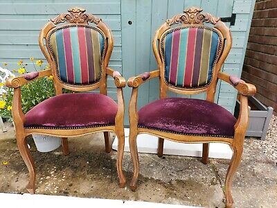 Original French Louis Style Pair Chairs Antique Vintage Carvers • 120£