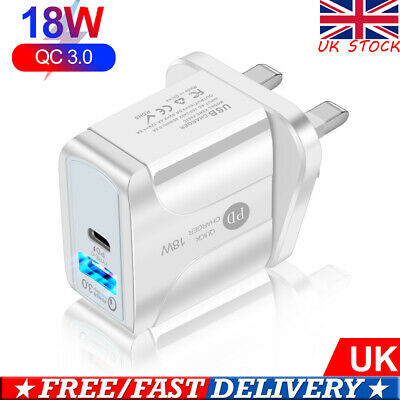 £6.08 • Buy QC 3.0 3A PD 18W LED Wall Charger Fast Adapter USB Dual Port Travel Charger UK