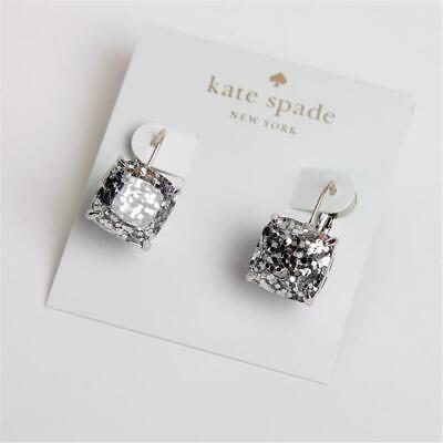 $ CDN35.67 • Buy Kate Spade New York Small Square Silver Glitter Leverback Drop Earrings