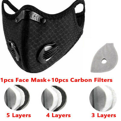 $ CDN21.67 • Buy Sport Breathing Face Mask Valve Reusable Washable With Activated Carbon Filters