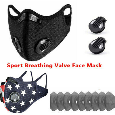 $ CDN21.80 • Buy Sport Breathing Valve Face Mask Reusable Washable With Activated Carbon Filters