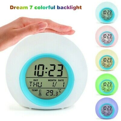 AU18.99 • Buy LED Digital Alarm Clock 7 Color Changing Wake Up Light With Temperature Kids