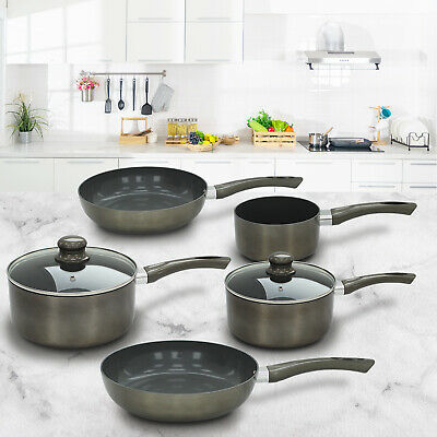 Titanium Pan 7 Piece Set Non Stick Ceramic Saucepan Frying Cookware Induction • 39.99£