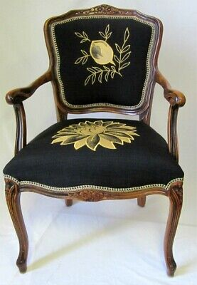 Carved Antique French Louis Style Mahogany Carver Chair Uniquely Upholstered • 100£