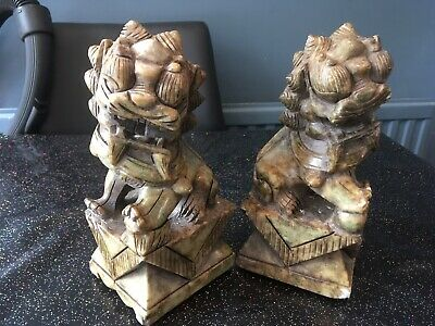Antique Chinese Jade Marble Foo Dogs • 145£