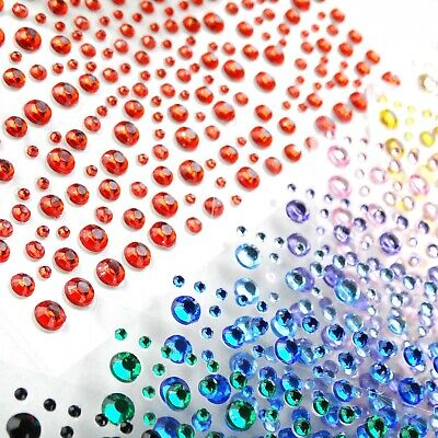 300+ Mixed 1 2 3 4mm Self Adhesive Rhinestone Stickers Diamante Gem Clear Colour • 1.99£