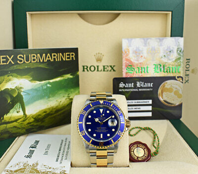 $ CDN15934.12 • Buy ROLEX Mens 18kt Gold & Stainless Submariner Blue Dial No Holes 16613 SANT BLANC