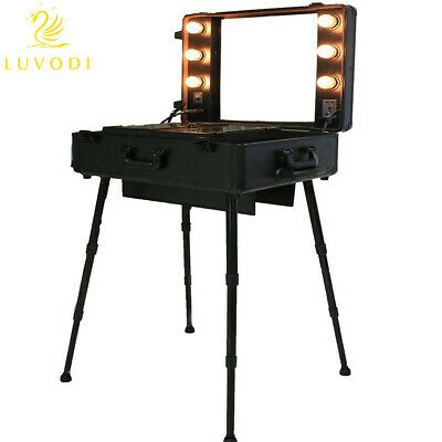 Cosmetic Make Up Travel Trolley Artist Pro Rolling Case With Light Mirror Box UK • 199.93£