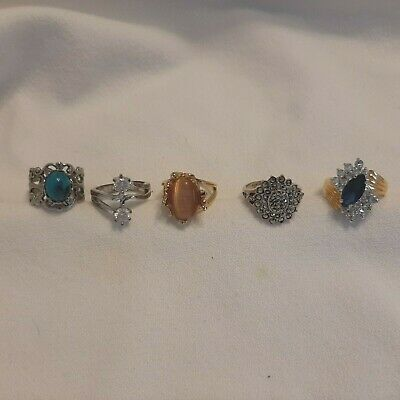 $ CDN59.32 • Buy Jewelry Lot Of 5 Rings Vintage / Retro / Costume / Cocktail Marcasite ALL SIZE 6