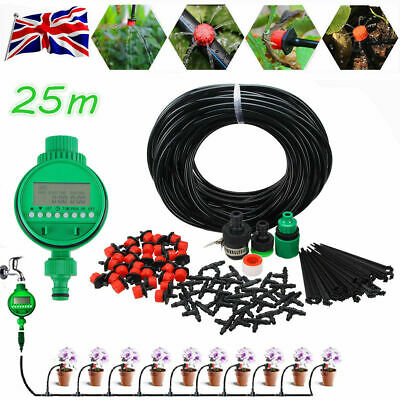 Automatic Drip Irrigation System Plant Timer Self Watering Garden 25M Hose Kit • 18.98£