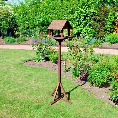 Traditional Deluxe Wooden Bird Feeder Table Garden Feeding Station House Seed  • 24.99£