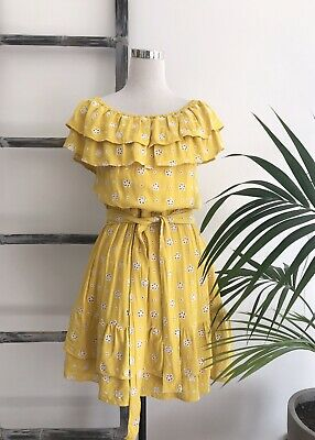 AU35 • Buy Seed Yellow Broderie Off-Shoulder Dress With Waist Tie - Size L (Fit Size 14)