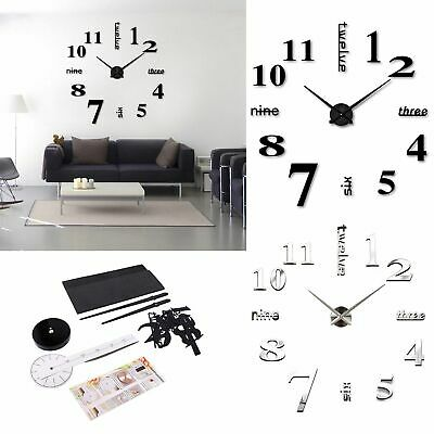 Luxury DIY 3D Large Number Wall Clock Mirror Sticker Decor Home Office Kids Room • 6.29£
