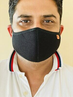 AU15 • Buy Black Fabric Face Mask Adult Cotton High Quality, Washable **Reusable** 4 Layers