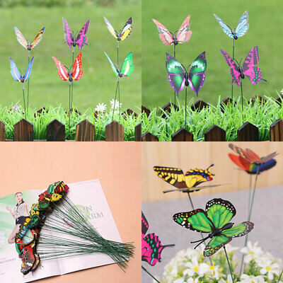 Ornaments Garden Home Decor Butterflies Stakes Patio On Sticks 10Pcs Colorful • 1.57£