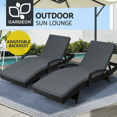 AU376.90 • Buy Gardeon 2pc Outdoor Sun Lounger Lounge Setting Rattan Wicker Patio Furniture