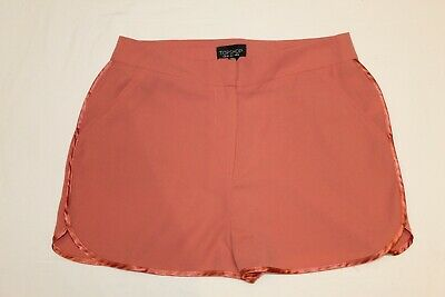 Topshop Coral Shorts Size 10 Silk Trim • 5.50£