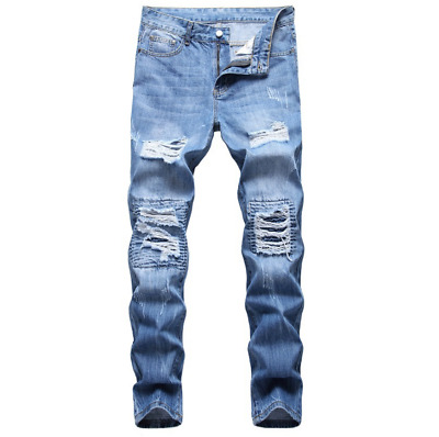 $30.68 • Buy Men Stretch Ripped Skinny Jeans Distressed Frayed Slim Fit Biker Pants Trousers