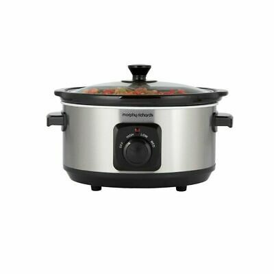Morphy Richards 460017 Brushed Stainless Steel 3.5L Ceramic Slow Cooker • 24.99£