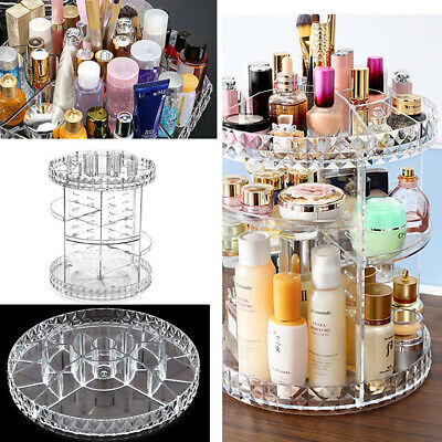 Cosmetic Makeup Organiser Lipstick Ring Storage Box Shelf Rotating Display Clear • 7.99£