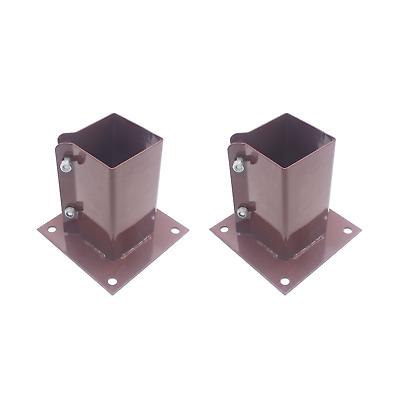 £18.95 • Buy Fence Post Shoe Bolt Down *PACK Of 2* 100mm/4  Decking Post Support RED/BROWN