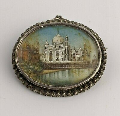 £199.99 • Buy Antique Indian Silver Brooch With Exceptional Miniature Painting Of Taj Muhal