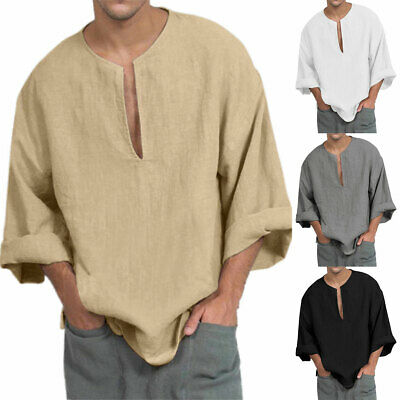 Men 3/4 Sleeve T Shirt Summer Comfy Loose Casual Tunic Top Solid Basic Tee Shirt • 12.29£