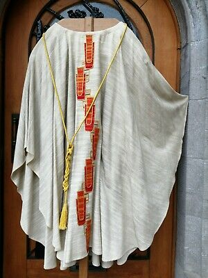 £125 • Buy Belgium Priest Church Christian Creme Linen Vestment Chasuble With Cinture Cord