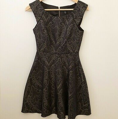AU30 • Buy Forever New 6 Black Jacquard Textured Skater Zip Dress Cocktail Party Like New