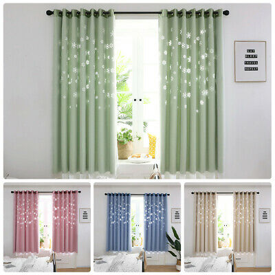 2 Layer Snowflake Blackout Curtain Thermal Grommer Drape Panel Eyelet Ring Top • 13.99£