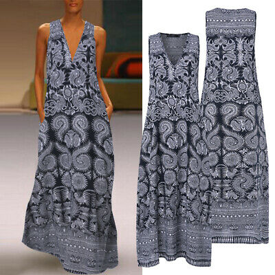 AU14.87 • Buy ZANZEA Women Sleeveless Summer Long Maxi Sundress Beach Club Party Floral Dress