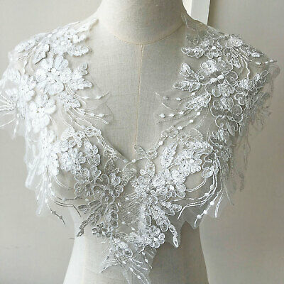 Shimmery Sequined Corded Embroidery Flower Lace Applique Wedding Dress Motif • 7.99£