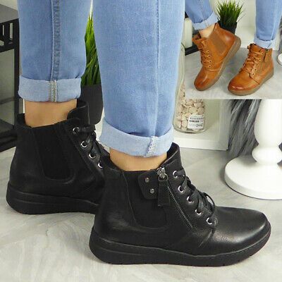 Womens Ankle Chelsea Boots Ladies Casual Lace Up Work Comfy Smart Flat Shoes New • 19.99£